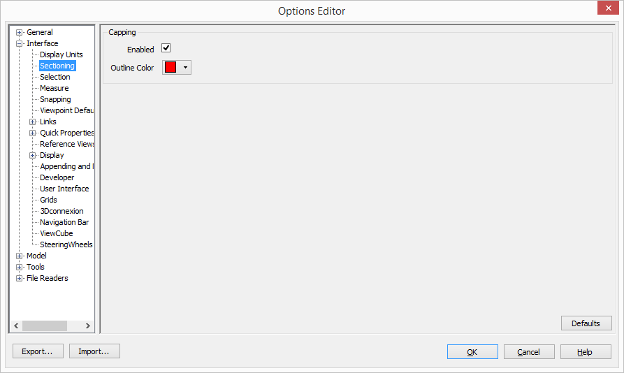 Interface sectioning options